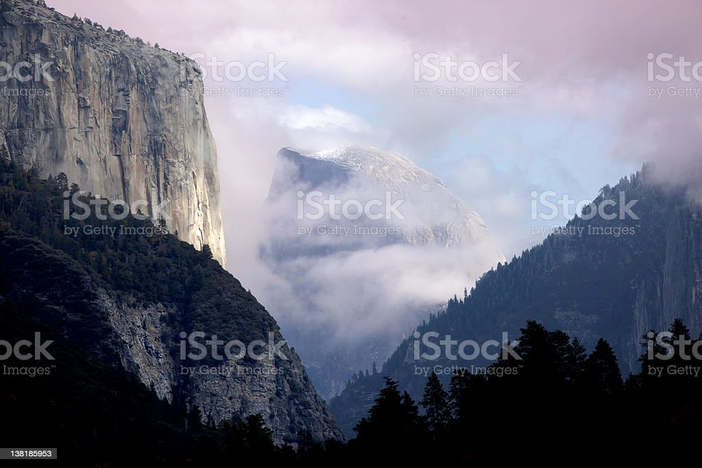 El Capitan and Half Dome in Storm Clouds stock photo