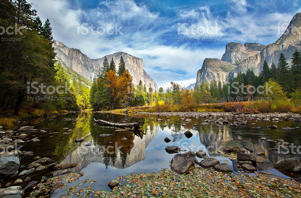 El Capitan and Merced River in the Autumn stock photo