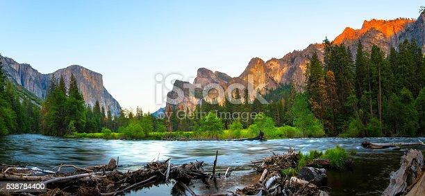 Panoramic View of El Capitan and Merced River in Spring, Yosemite National Park.