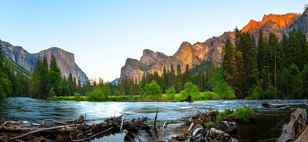 El Capitan and Merced River Panorama Panoramic View of El Capitan and Merced River in Spring, Yosemite National Park. el capitan yosemite national park stock pictures, royalty-free photos & images