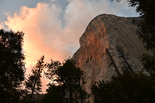El Capitan At Sunset With Vivid Clouds Stock Photo - Download Image Now