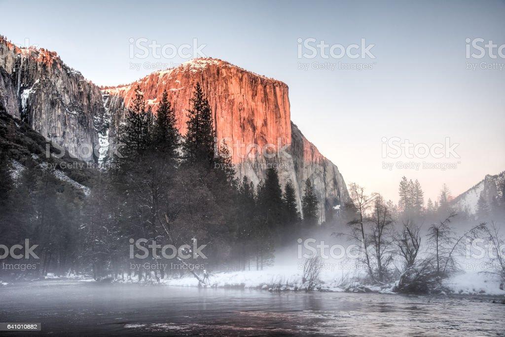 El Capitan at Winter Sunset stock photo