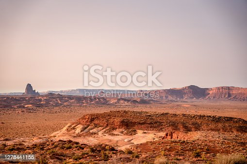 El Capitan Butte in the Vast Desert in the Navajo Reservation in Northern Arizona near the Monument Valley Tribal Park in the USA