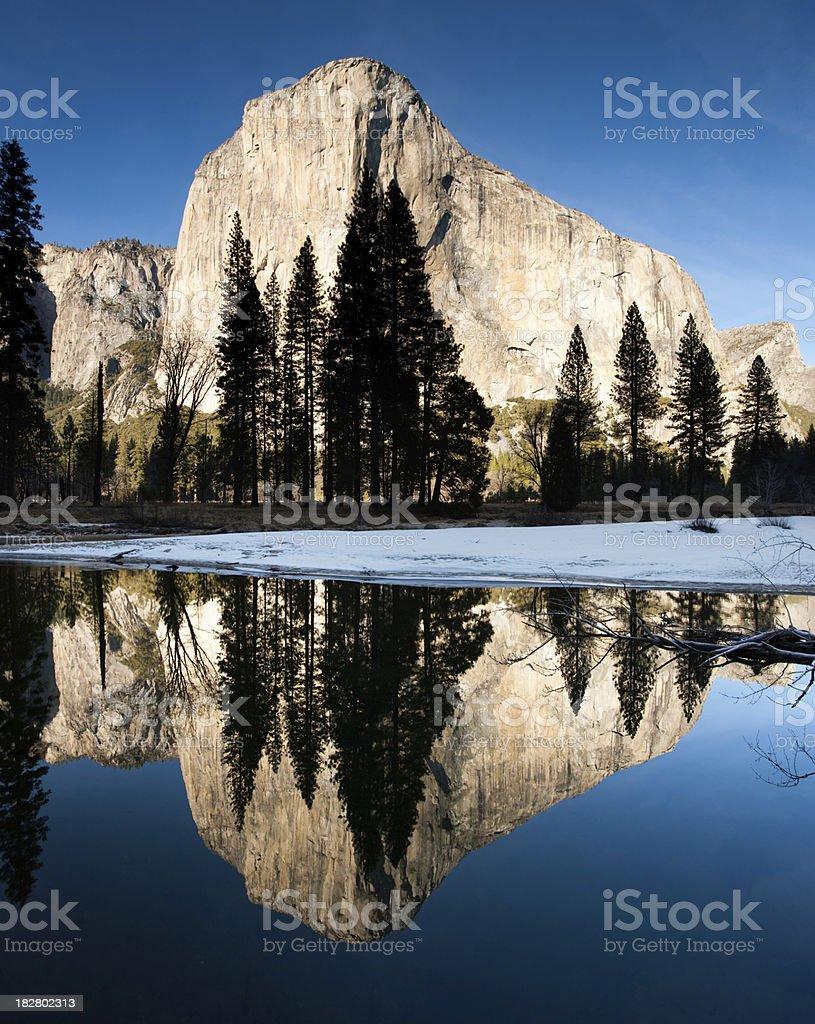 El Capitan Merced River Reflection Panorama royalty-free stock photo