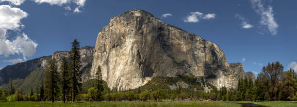 El Capitan Merged Panoramic Yosemite Nation Park Blue Sky El Capitan Panoramic in Yosemite Nation Park California. Blue sky with light clouds in the background. This Panorama is made from multiple images merged together. el capitan yosemite national park stock pictures, royalty-free photos & images