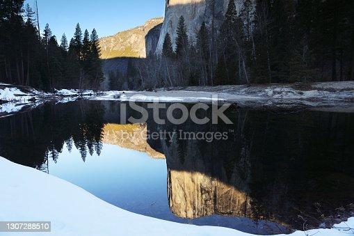 El Capitan Reflection in Merced River at Yosemite Valley Yosemite National Park