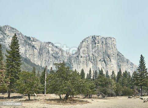 El Capitan rock formation in Yosemite National Park, color toned picture, California, USA.