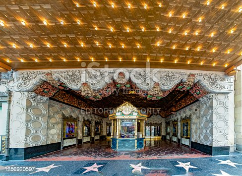 Los Angeles, USA - March 5, 2019:  : El Capitan Theater in Hollywood. El Capitan Theatre is a fully restored movie palace at 6838 Hollywood Boulevard in Hollywood.district is a famous tourist attraction.