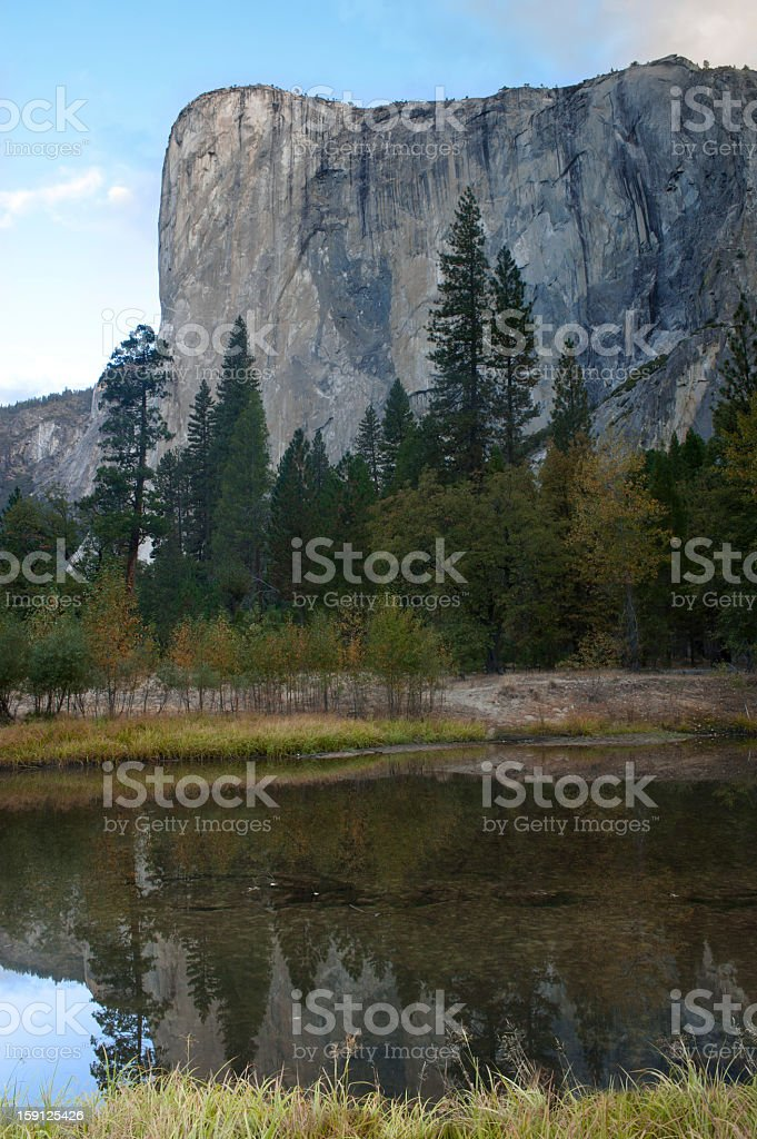 El Captain in Yosemite national park and reflection stock photo