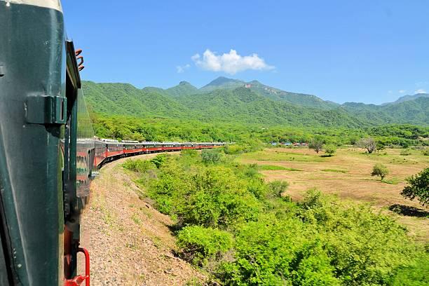 El Chepe train in the Copper Canyon, Mexico stock photo
