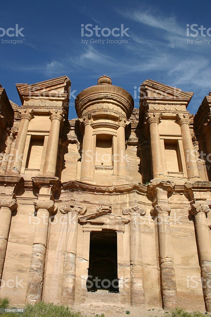 El Deir - The Monastery at Petra, Jordan royalty-free stock photo