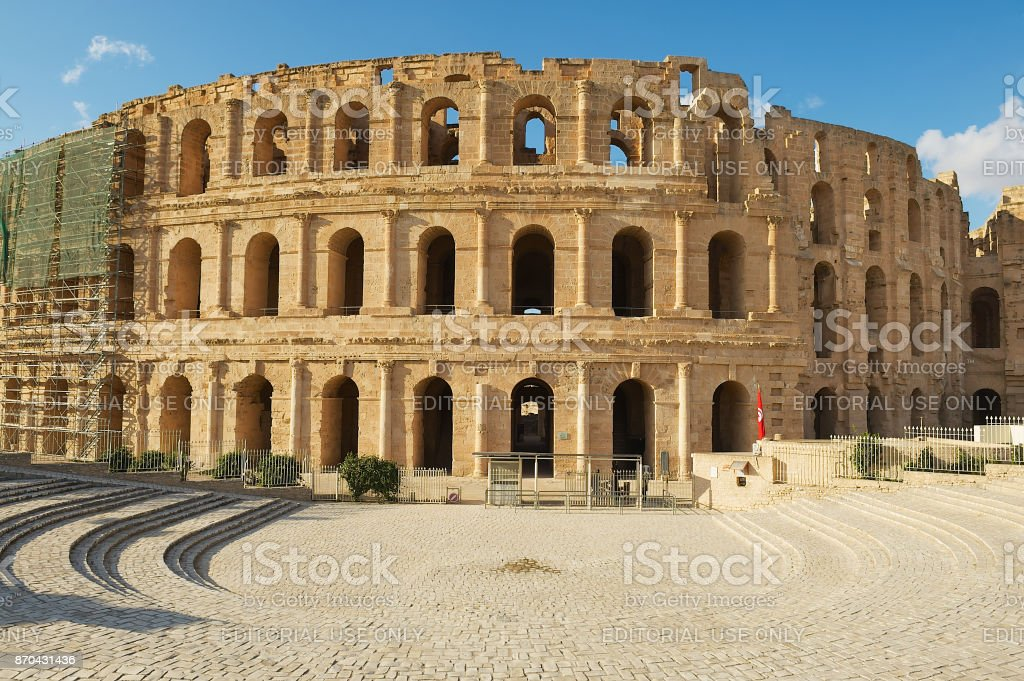 El Djem amphitheater in El Djem, Tunisia. stock photo