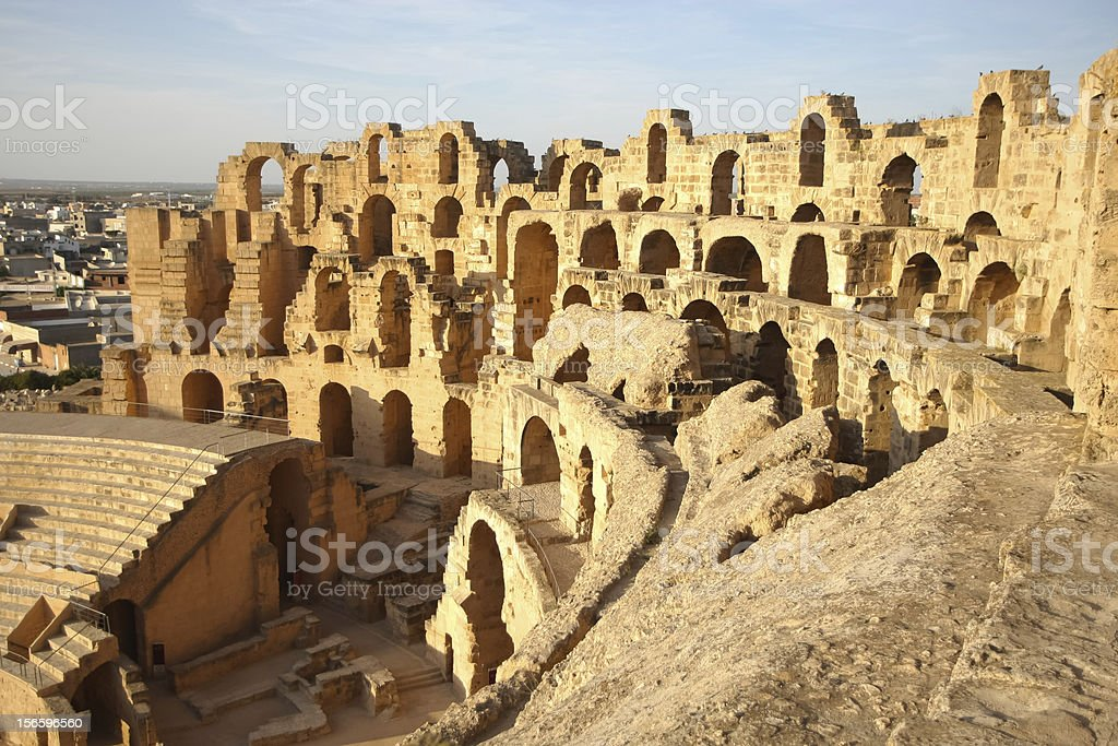 El Djem Amphitheatre in Tunisia stock photo