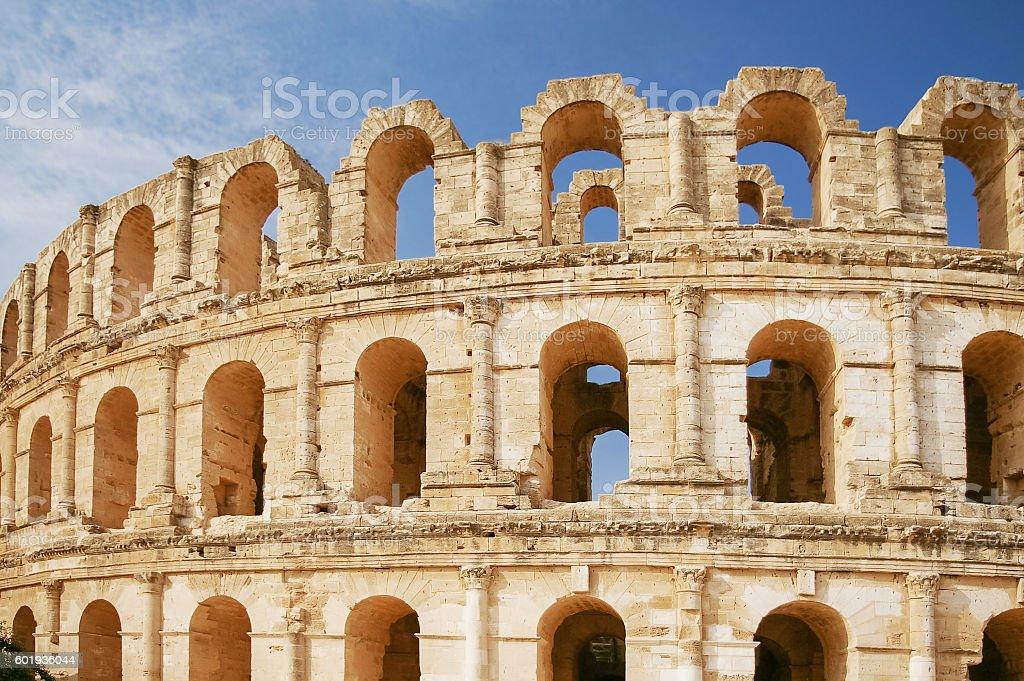 El Djem amphitheatre, Tunisia. stock photo