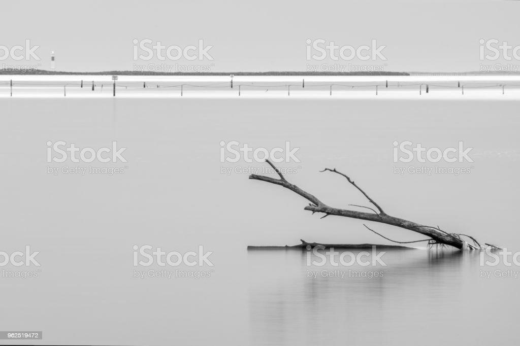 farol de fangar El no delta del ebro longa exposição no mar - Foto de stock de Alto contraste royalty-free