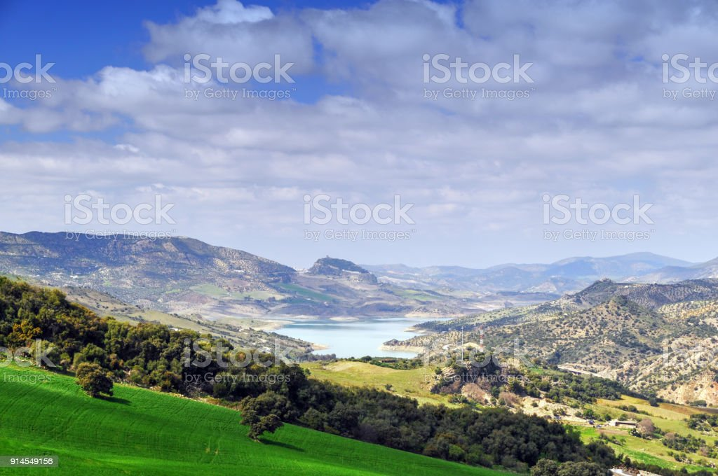 El Gastor reservoir near Zahara de la Sierra, Andalusia,Spain stock photo