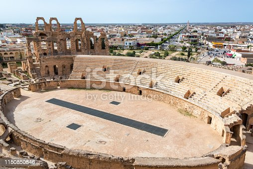 High angle view of the ancient amphitheater of El Jem in Tunisia