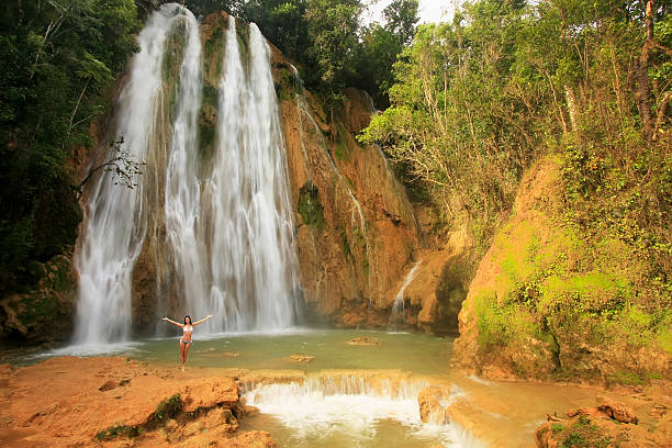 El Limon waterfall, Dominican Republic stock photo