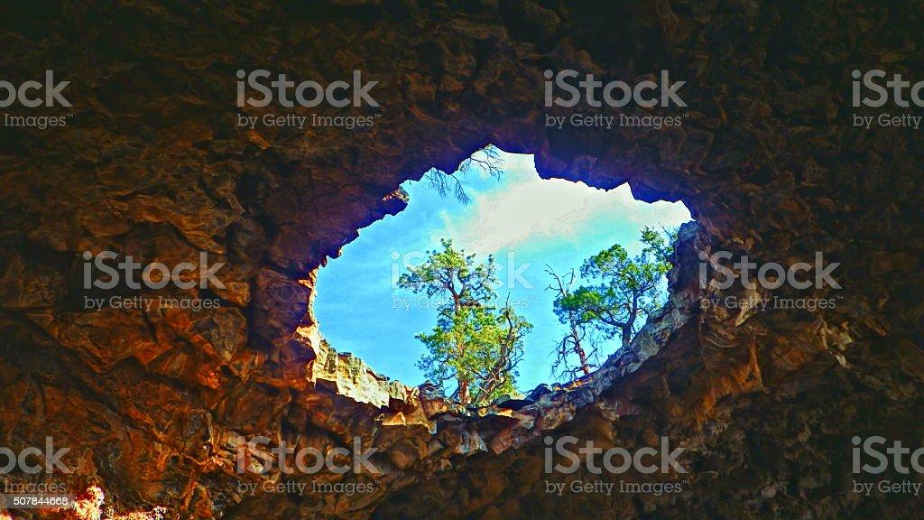 El Malpais Big Skylight HDR stock photo