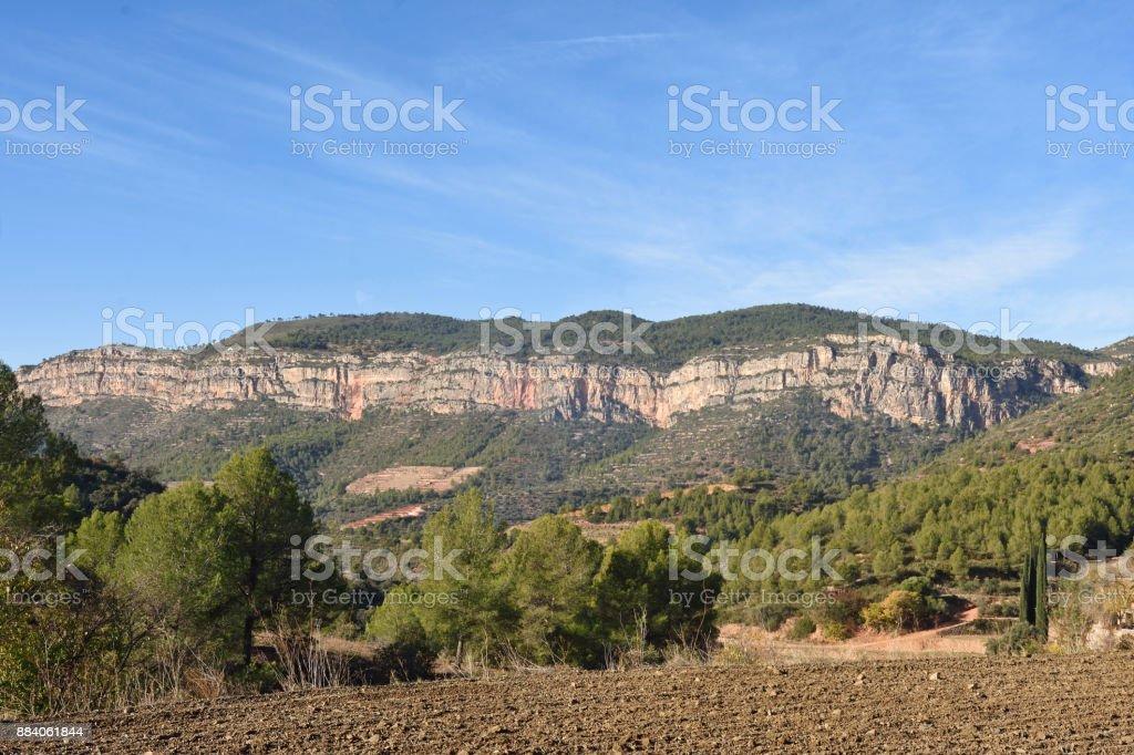El Montsant mountain,landscape near of La Vilella Alta, El Priorat, Tarragona province, Spain stock photo