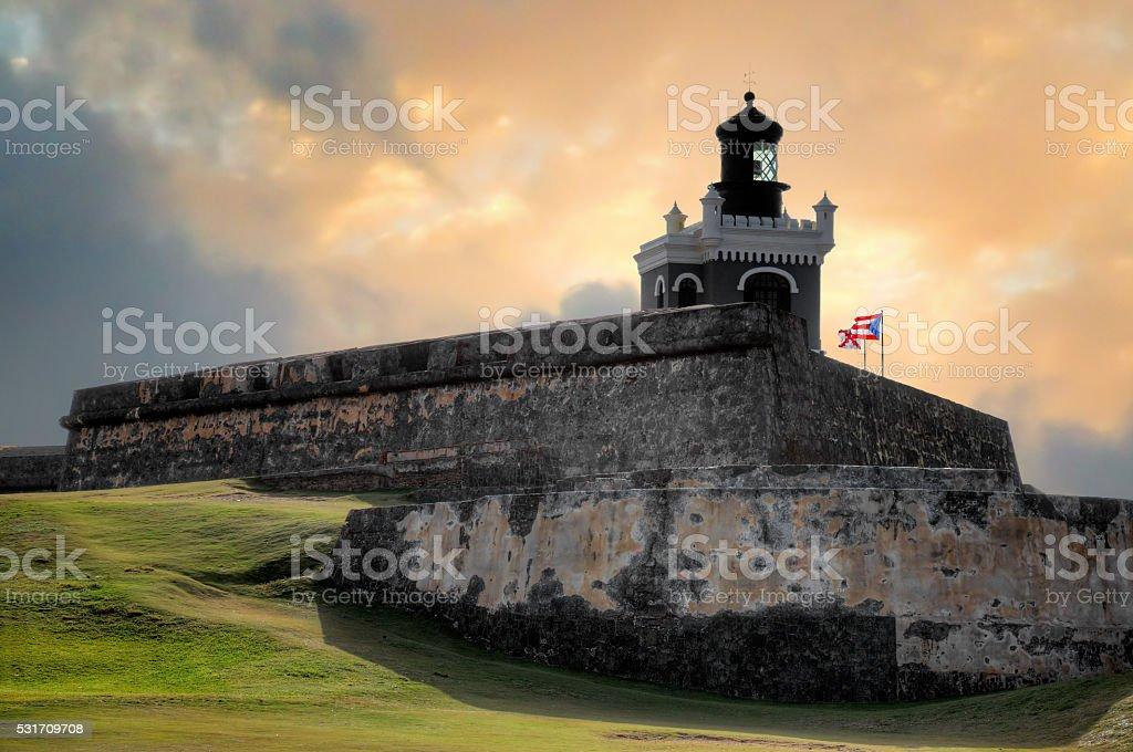 El Morro sunset fort stock photo