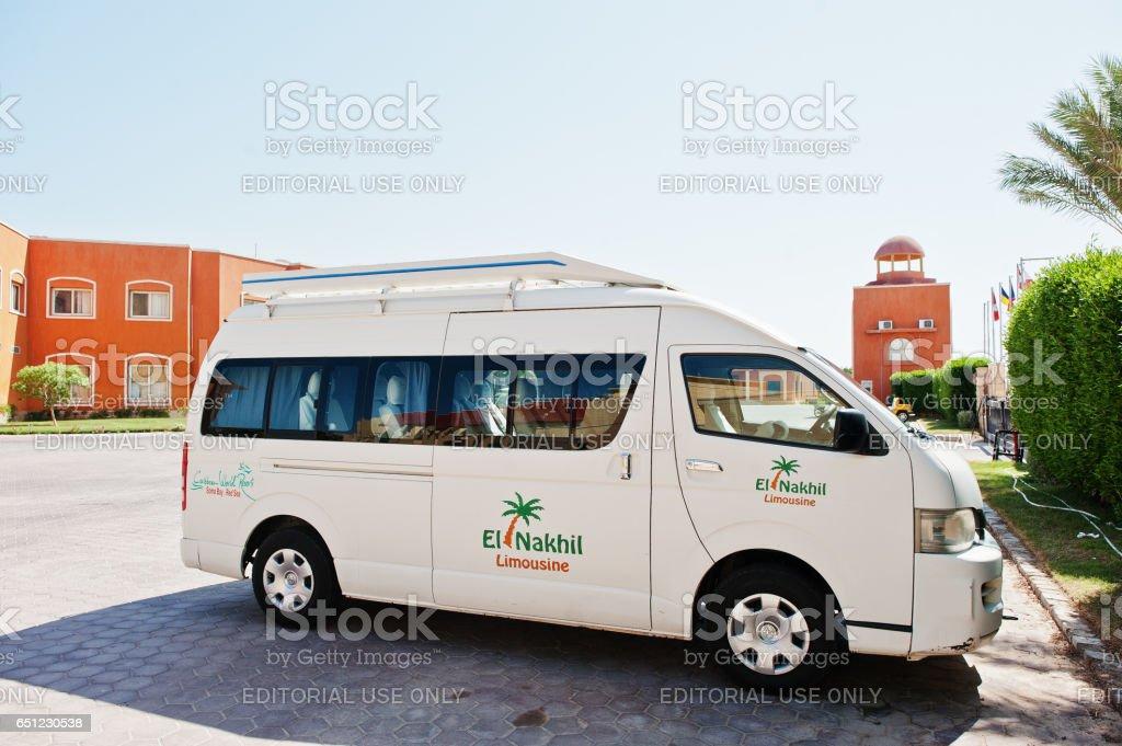 El Nakhil Limousine car bus at luxury resort Caribbean World Soma Bay stock photo