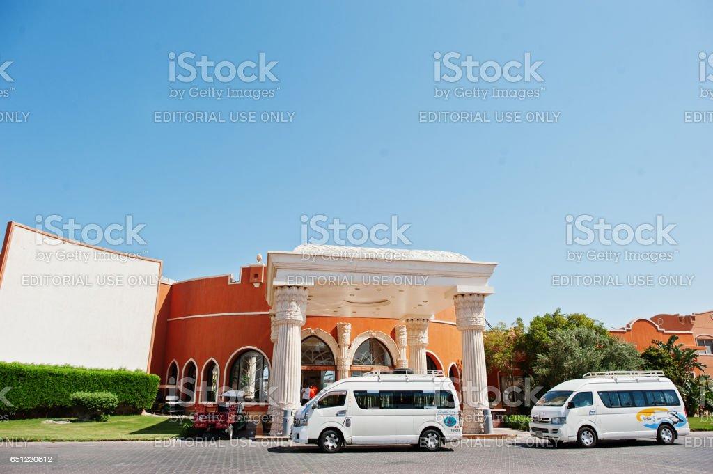 El Nakhil Limousine cars bus at luxury resort Caribbean World Soma Bay stock photo