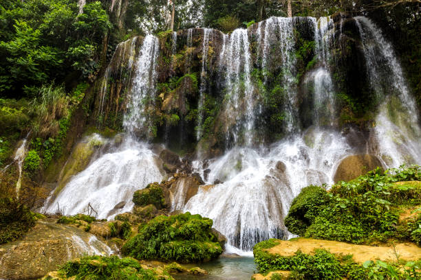 El Nicho - famous waterfalls on Cuba The famous waterfalls of El Nicho on Cuba wasser photos stock pictures, royalty-free photos & images