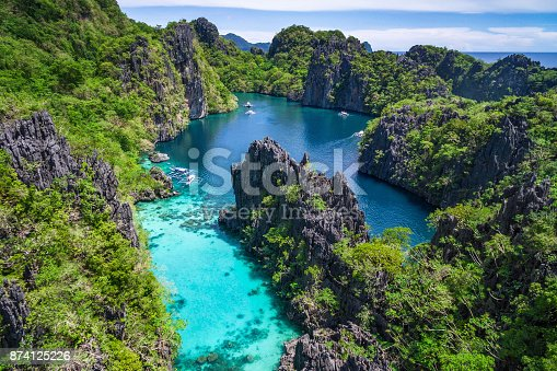 istock El Nido, Palawan, Philippines, Aerial View of Beautiful Lagoon and Limestone Cliffs 874125226