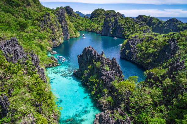 El Nido, Palawan, Philippines, Aerial View of Beautiful Lagoon and Limestone Cliffs stock photo