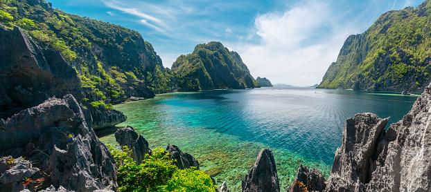 Beautiful day at El Nido, Philippines. High resolution panorama