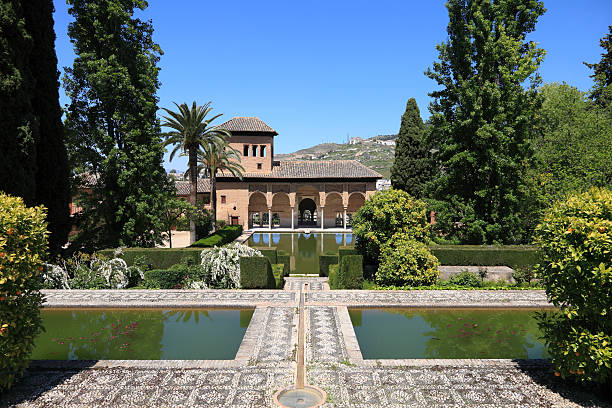 El Partal in the Alhambra Gardens, Granada stock photo