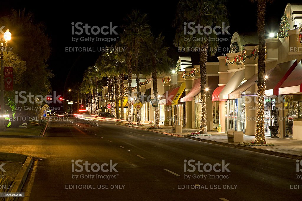 El Paseo Drive Palm Desert Decorated For Christmas stock photo