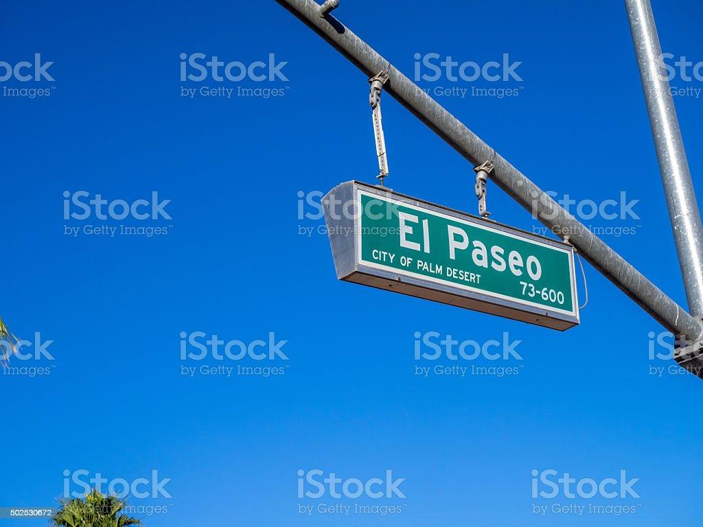 El Paseo street sign stock photo