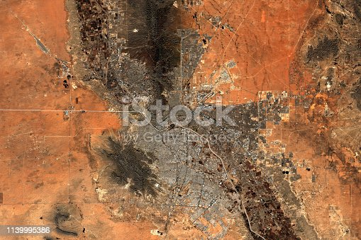 El Paso in USA and Ciudad Juarez in Mexico seen from space - contains modified Copernicus Sentinel Data (2019)