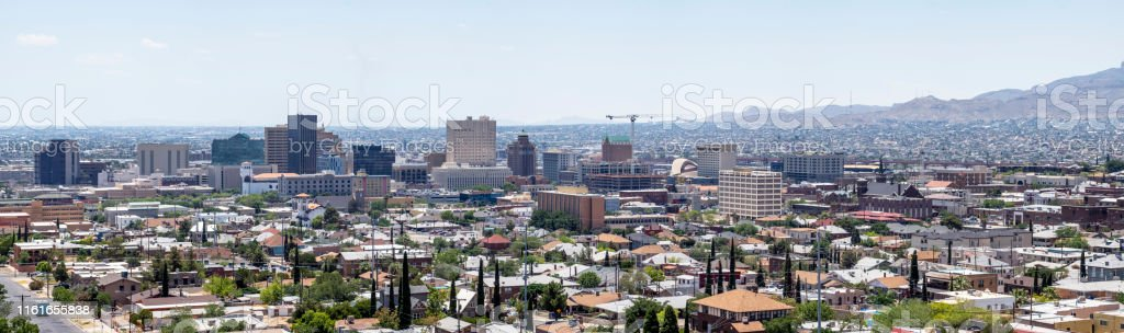 USA and Mexico border in El Paso Texas