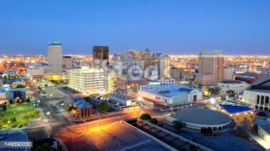 Downtown El Paso Texas skyline seen just after sunset. 16 x 9 aspect ratio. Space for copy.