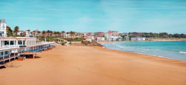 El Playa, Santander, Spain Sardinero Beach in Santander, Spain, on a good weather day. santander spain stock pictures, royalty-free photos & images