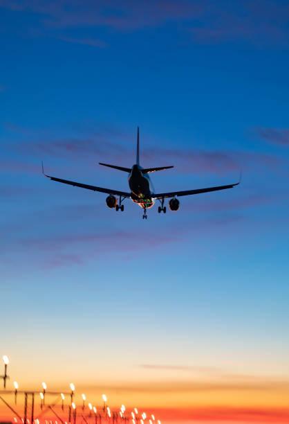 El Prat aeroport Pau Casals sunset stock photo
