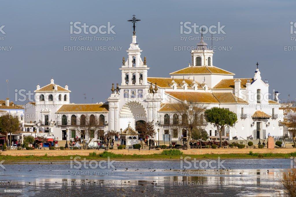 El Rocio village and hermitage in Huelva, Andalusia, Spain. stock photo