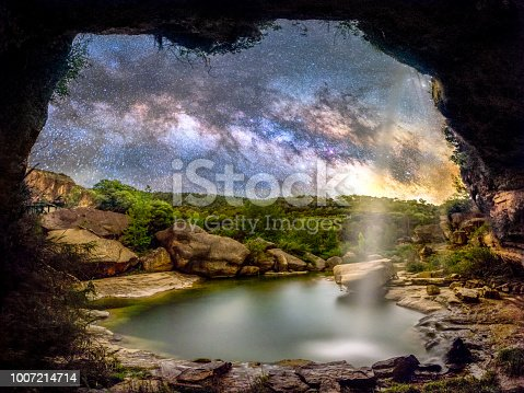 653506436istockphoto el salt waterfall with milky way at night, aragon, Spain 1007214714