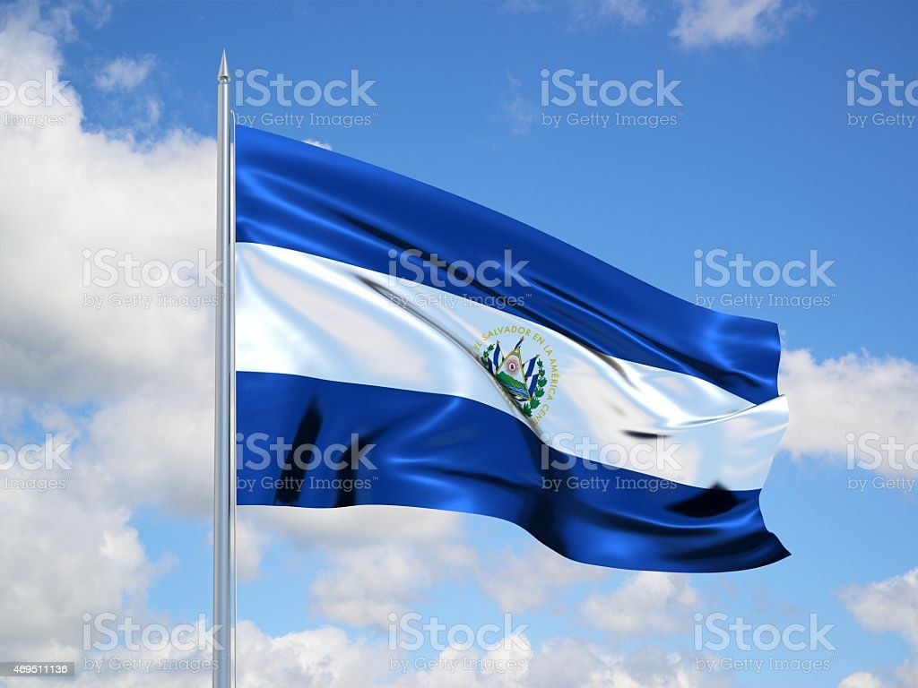 El Salvador 3d flag stock photo