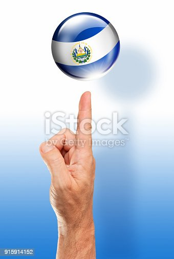 istock El Salvador button flag pointing with human hand 915914152