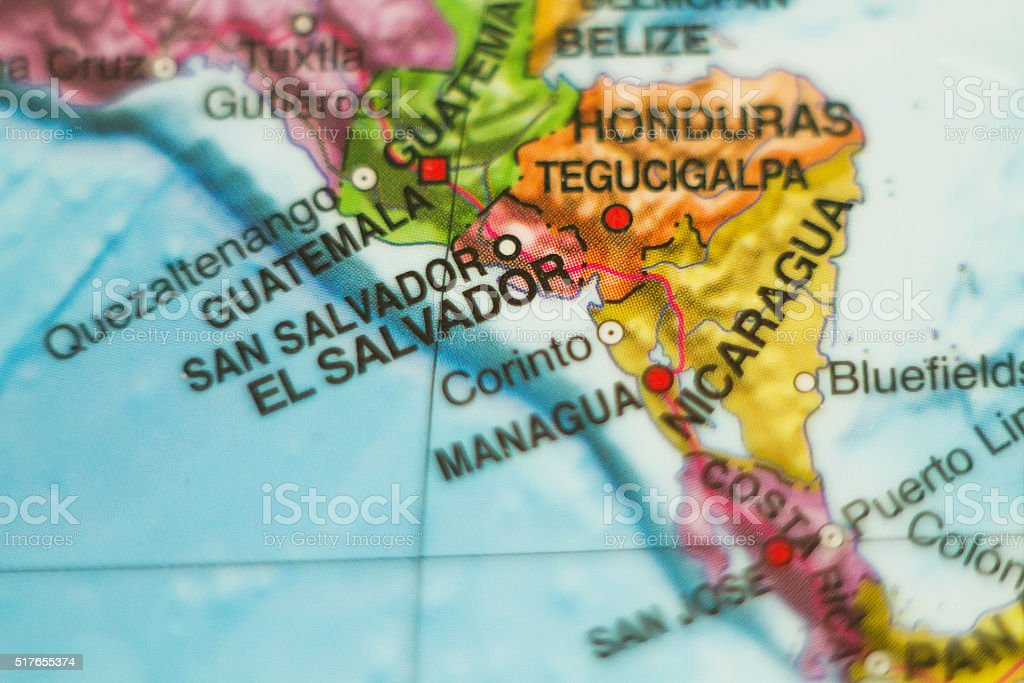 El Salvador country map . stock photo