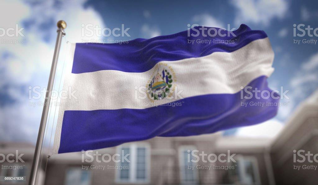 El Salvador bandera procesamiento 3D sobre fondo azul Sky Building - foto de stock