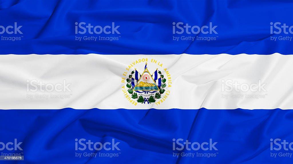 El Salvador flag on a silk drape waving stock photo