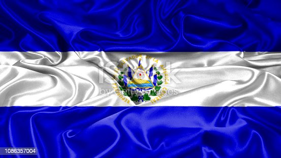 El Salvador flag on silk and satin texture with mask and displace technique