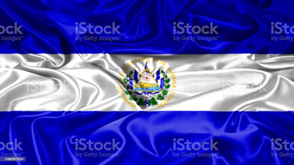 Bandera del Salvador en seda y textura satinada con máscara - foto de stock