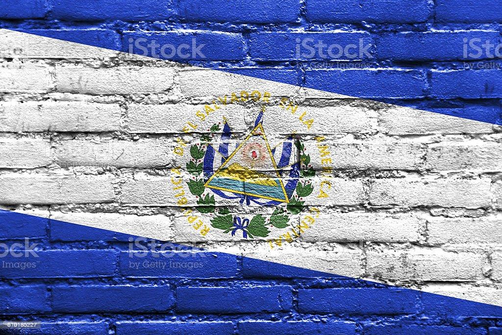 El Salvador Flag painted on brick wall stock photo