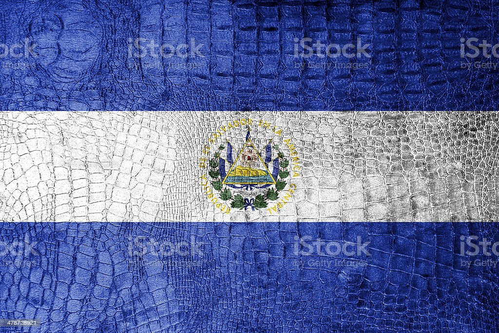 El Salvador Flag painted on luxury crocodile texture royalty-free stock photo